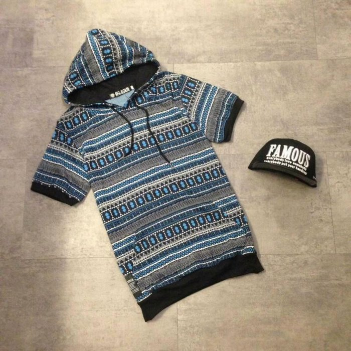 【My style】有型好搭戴帽短T短袖帽T。藍/黑,M/L/XL