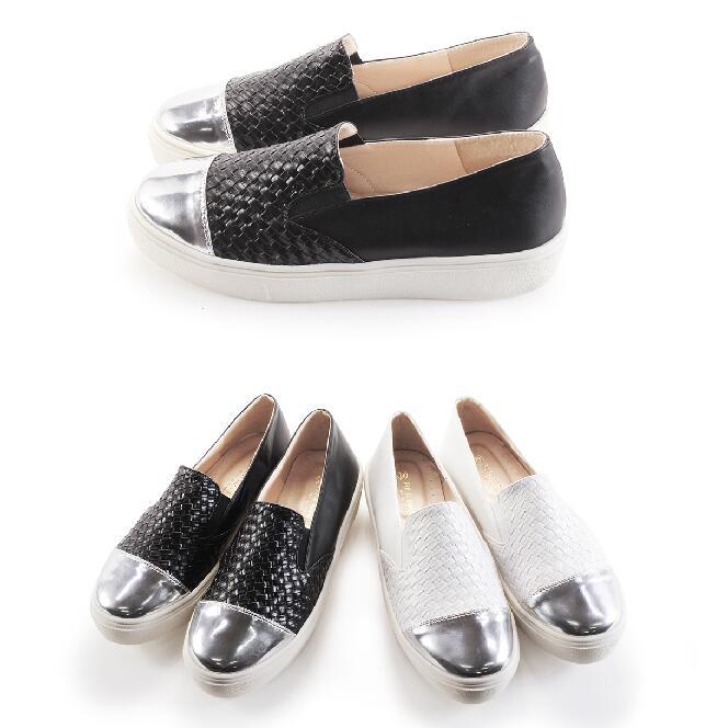 【My style】富發牌-N66 金屬編織拼接便鞋 黑.白,23-25號。任兩雙免運