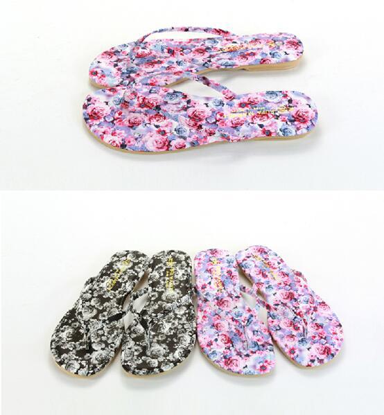 【My style】富發牌-PPKM02 玫瑰印花質感拖鞋 黑.粉,S.M.L號。任兩雙免運