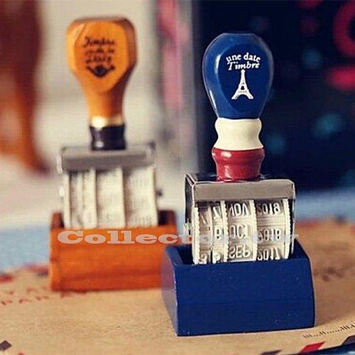 【L14120601】日韓流行-復古風木質手柄日期印章 滾輪印章