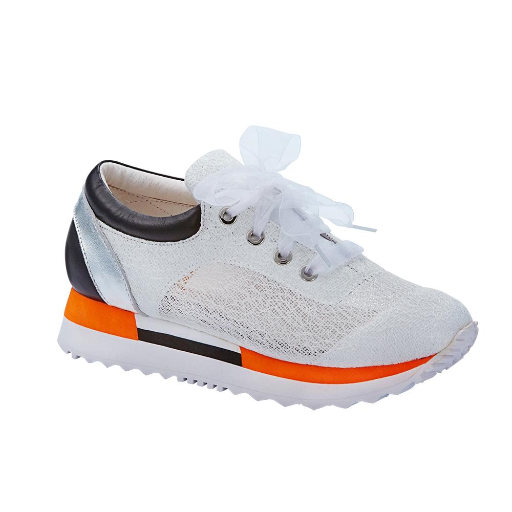 2MUCH蕾絲義大利布面時尚慢跑鞋-白色(35-40)