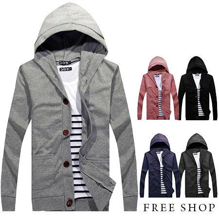 Free Shop【QMD20025】日韓英倫時尚雅痞系木質排釦罩衫棉質連帽外套.五色 MIT台灣製