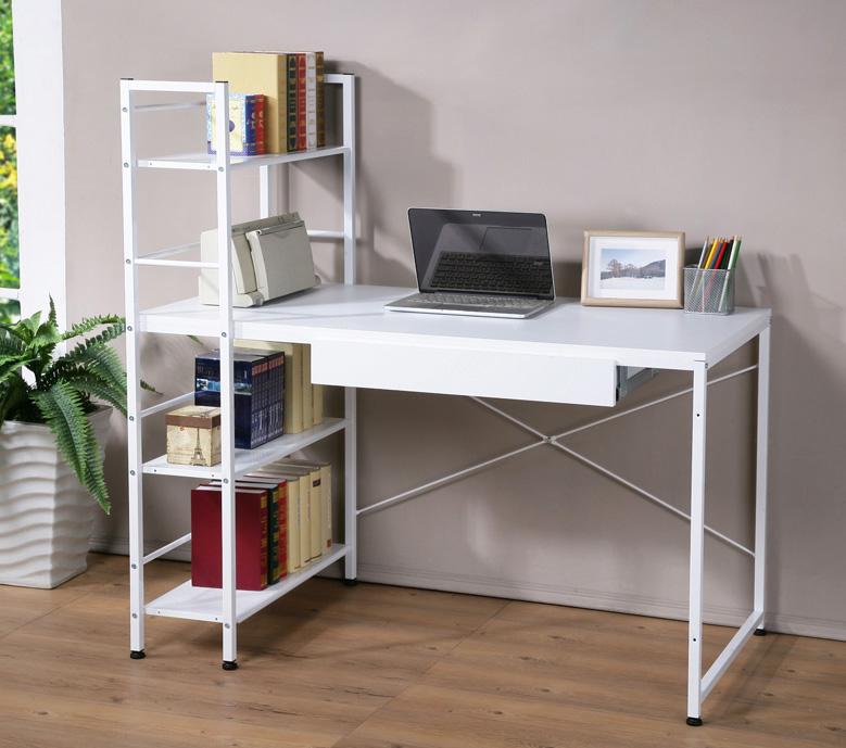 深60公分雙向層架工作桌 書桌 電腦桌 (附一抽屜) 兩色【馥葉】 型號DE1230-DR 可加購玻璃
