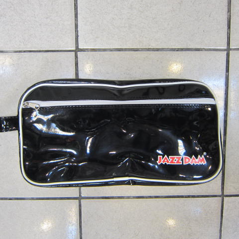 ~雪黛屋~JAZZDAM鞋袋休閒型手拿包 隨身包防水PVC鏡面材質手拿包手抓包夾包 物品分類包 #4062 黑
