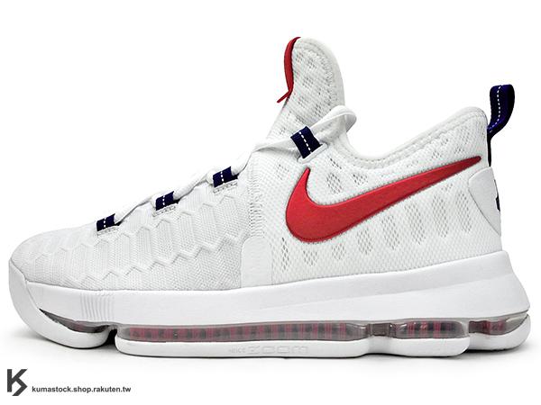 2016 得分王 雷帝 NIKE ZOOM KD 9 IX EP GS USA 大童鞋 女鞋 奧運 白深藍紅 美國隊 FLYKNIT 襪套包覆鞋面 AIR KD 5 35 (855908-160) !