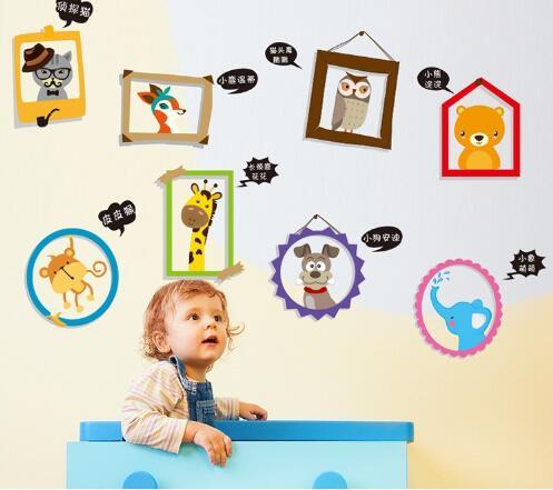 WallFree窩自在★DIY無痕壁貼/牆貼-XL2002-動物相框
