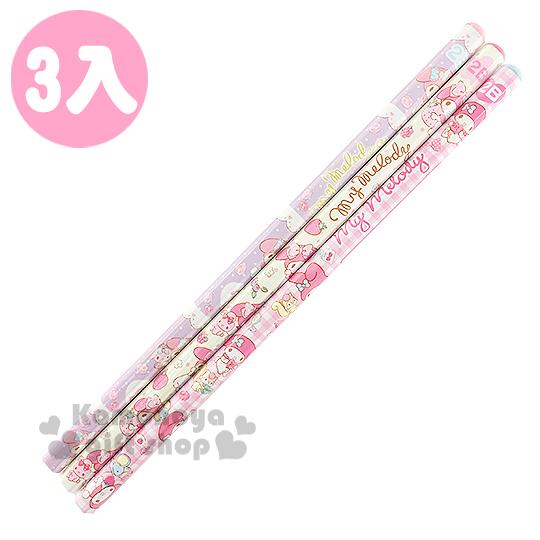 〔小禮堂〕美樂蒂 六角鉛筆組《3支入.粉/黃/紫.格紋.點點.玫瑰》2B筆芯