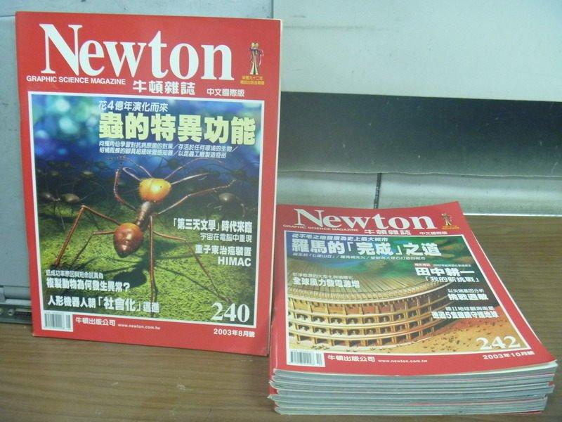 【書寶二手書T7/雜誌期刊_LFZ】牛頓_240~249期間_共8本合售_蟲的特異功能_全球風力發電激增等
