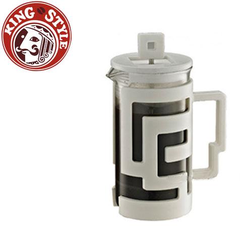 金時代書香咖啡 Tiamo 幾何圖文法式濾壓壺 300cc 白色