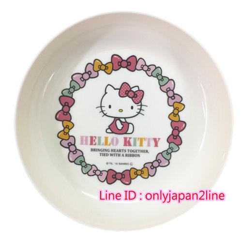 【真愛日本】16100700014可微波小皿-KT蝴蝶結白   三麗鷗 Hello Kitty 凱蒂貓 碟 皿 盤  日本帶回