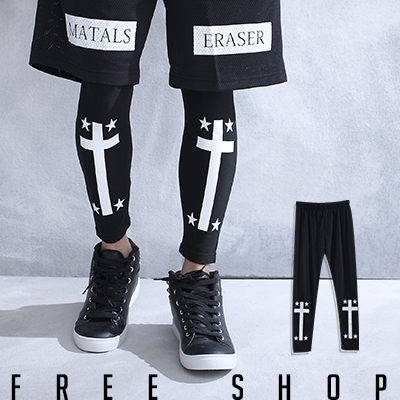 Free Shop【QSPG2313】歐美潮流系十字架星星印花彈性棉質內搭長褲內搭褲‧黑色 MIT 台灣製