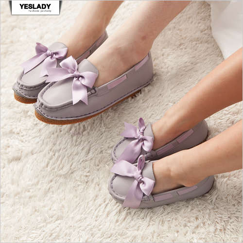 yeslady 100%純正牛皮蝴蝶結緞帶親子鞋-Mommy粉紫色