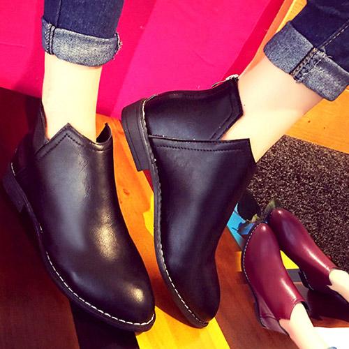 短靴-時尚皮革v口後拉鍊短靴