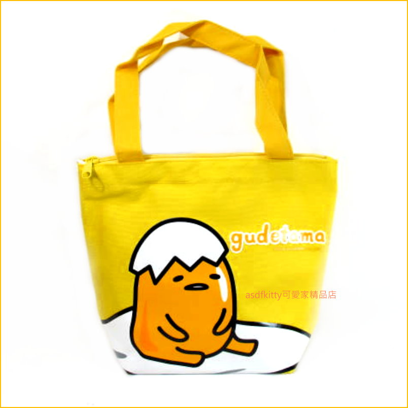 asdfkitty可愛家☆蛋黃哥 手提袋/購物袋/餐袋/便當袋-台灣授權正版商品