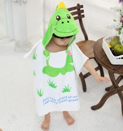 日單可愛動物造型連帽浴巾浴袍 綠恐龍 浴衣兒童浴巾卡通批風 PG美妝