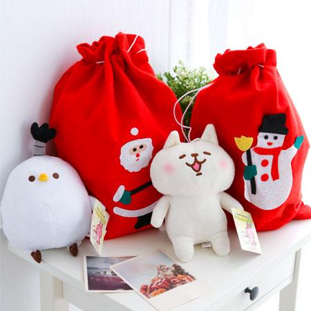 聖誕禮物束繩袋 束口袋 束口包 包裝袋 聖誕禮物 包裝 禮物 送禮 雪人 聖誕老公公 不織布禮物袋【B062410】