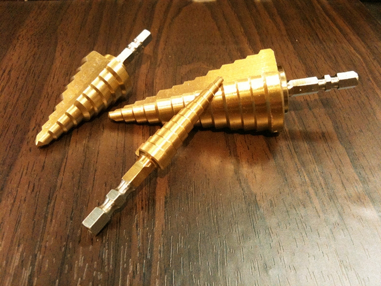 【台北益昌】HSS鍍鈦階梯鑽頭3~13mm 6~25mm 6~35mm可鑽白鐵大小孔徑一支搞定~☆