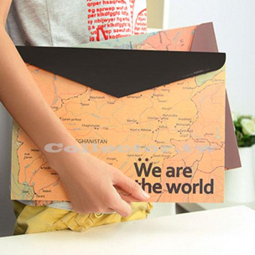 【L16091905】We are the world復古大笨鐘世界地圖A4收納袋 魔鬼粘檔案夾 文件夾