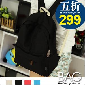 B.A.G*現+預*【BT-ZZS】簡約純色學生帆布後背包(現+預)4色