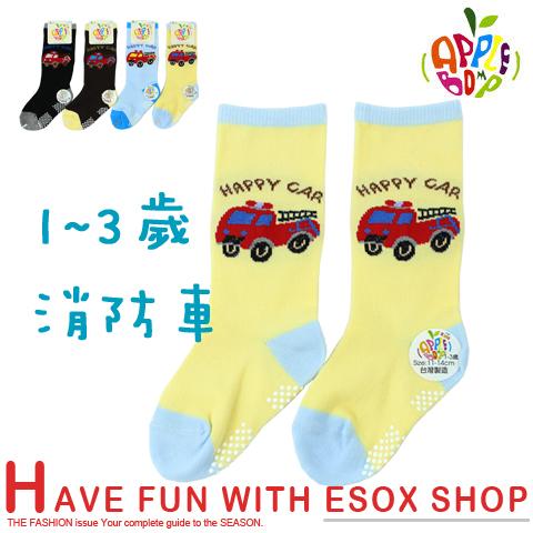 【esoxshop】半統止滑寶寶襪 消防車款 台灣製 本之豐