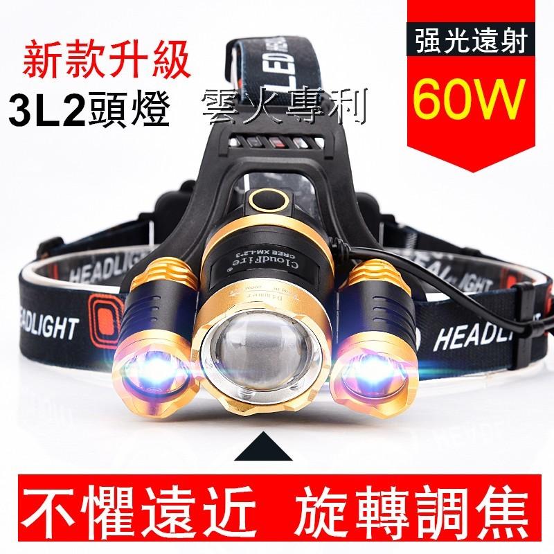 全台網購-美國CREE XM-L2 三核心超強光旋轉調光頭燈L2頭燈亮度高達3600流明超強光 多角度調整頭燈登山露營釣魚18650