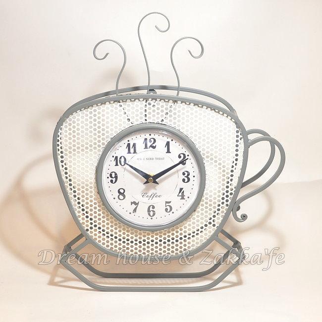 復古仿舊鐵藝 咖啡杯造型 時鐘/桌鐘/掛鐘《無秒針設計》★漂亮又實用★適合店面裝飾使用★ 夢想家精品家飾