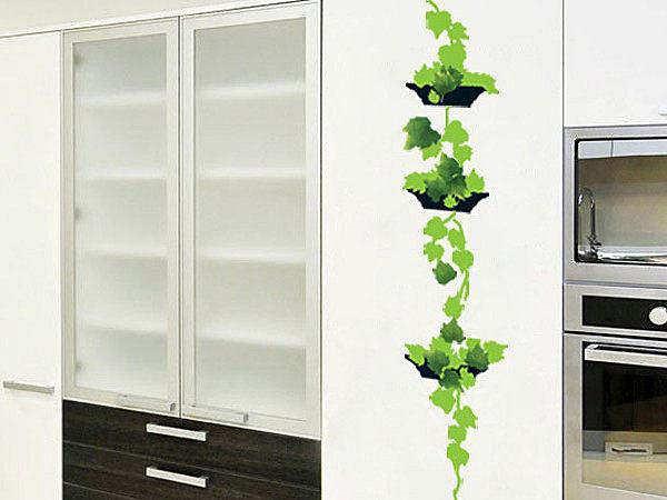 BO雜貨【YP1972】高品質創意牆貼/壁貼/背景貼/磁磚貼/壁貼樹 時尚組合壁貼 綠葉盆栽