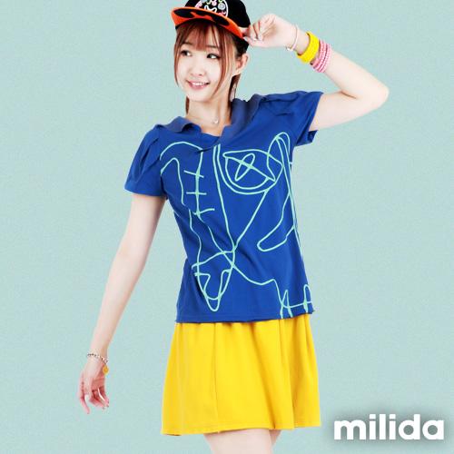 【Milida,全店七折免運】-夏季T恤-v領款-抽象線條拼貼T