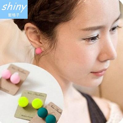 【20A60】shiny藍格子-馬卡龍.時尚百搭螢光糖果磨砂圓球耳環