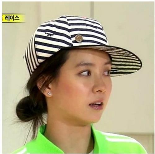 50%OFF【C01108H】韓國runningman宋智孝潮男女黑白條紋平沿嘻哈街舞棒球帽子
