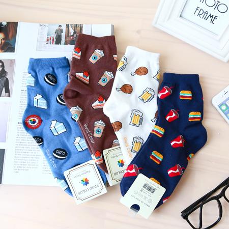 韓國 美味食物棉質中筒襪 啤酒炸雞 咖啡蛋糕 可樂漢堡 短襪 襪子 造型襪 流行襪【N201052】