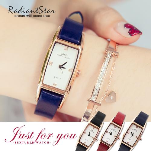 瑞士IBSO午茶情迷極簡方形四方鑽真皮手錶【WIB3921】璀璨之星☆