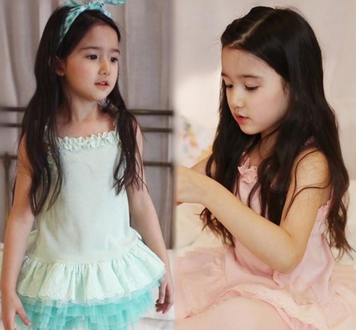 【貝貝樂SHOW】夏季吊帶彈力蓬蓬鏤空花洋裝上衣~粉色、淺綠色~正韓pinkideal~