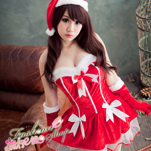 夢幻日系露肩聖誕服~澎澎裙擺小洋裝角色扮演制服派對xmas聖誕裝含聖誕帽*流行E線F010