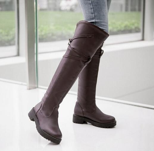 個性繞帶搭扣平底低跟過膝長靴騎士靴-黑/棕34-43【no-42028941412】