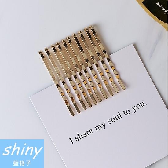 【DJB1320】shiny藍格子-復古金色一字髮夾