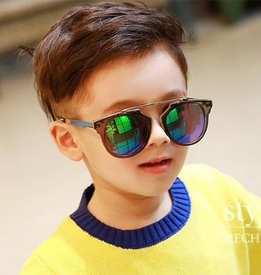 Kocotree◆炫酷風暴兒童防紫外線護目炫彩太陽眼鏡-黑框+綠色鏡片