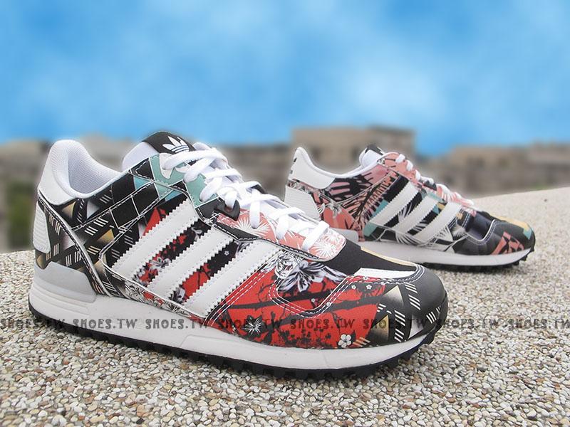 《特價6折》Shoestw【AQ3081】ADlDAS ZX ZX700 慢跑鞋 白黑紅 櫻花 押花 皮革 女生