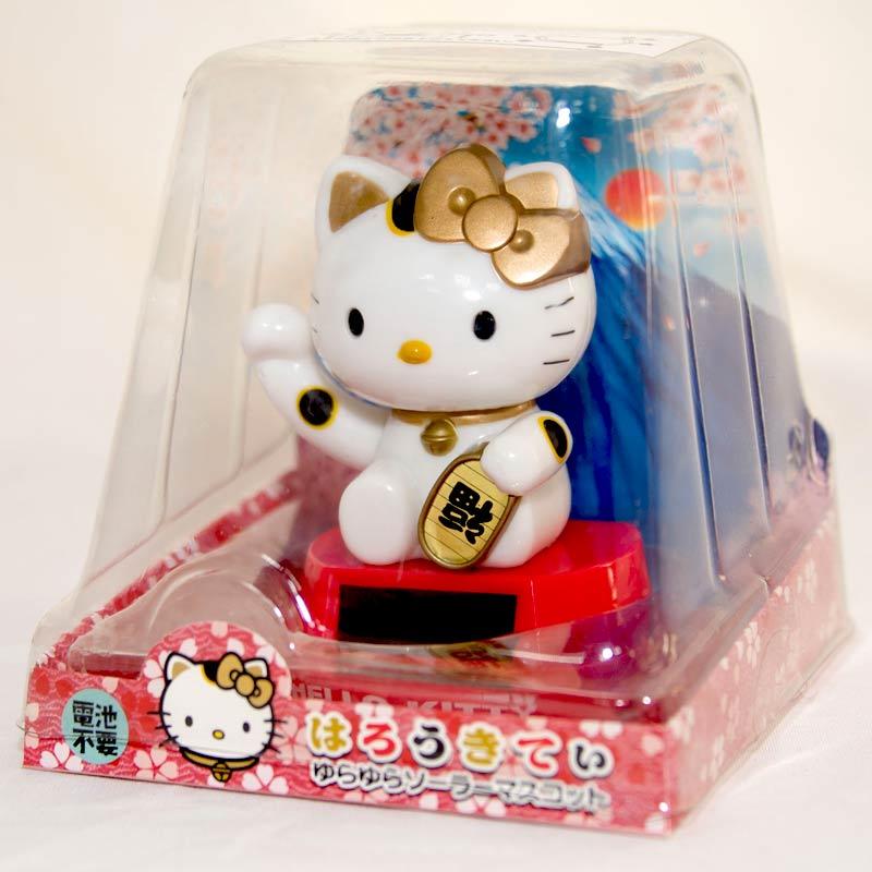 Hello Kitty 金色招福招財貓 太陽能 搖頭娃娃 日本帶回 正版商品
