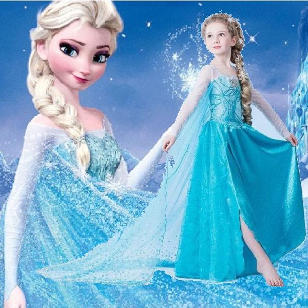 【貝貝樂SHOW】冰雪奇緣~ALS小公主最夯雪花冰鑲鑽披紗夢幻.浪漫洋裝長裙~100-140CM