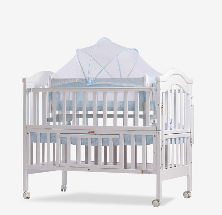 多功能嬰兒床 加大嬰兒床 實木嬰兒床 高檔嬰兒床 附搖籃 蚊帳