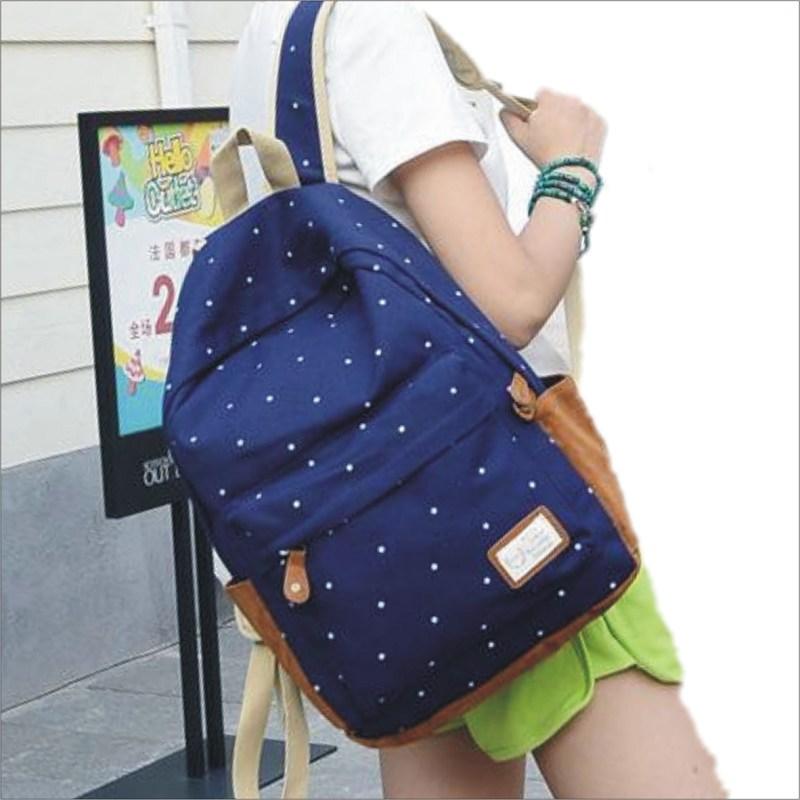 【日系點點後背包】 韓版流行後背包 學院風旅行包 書包  時尚玩包