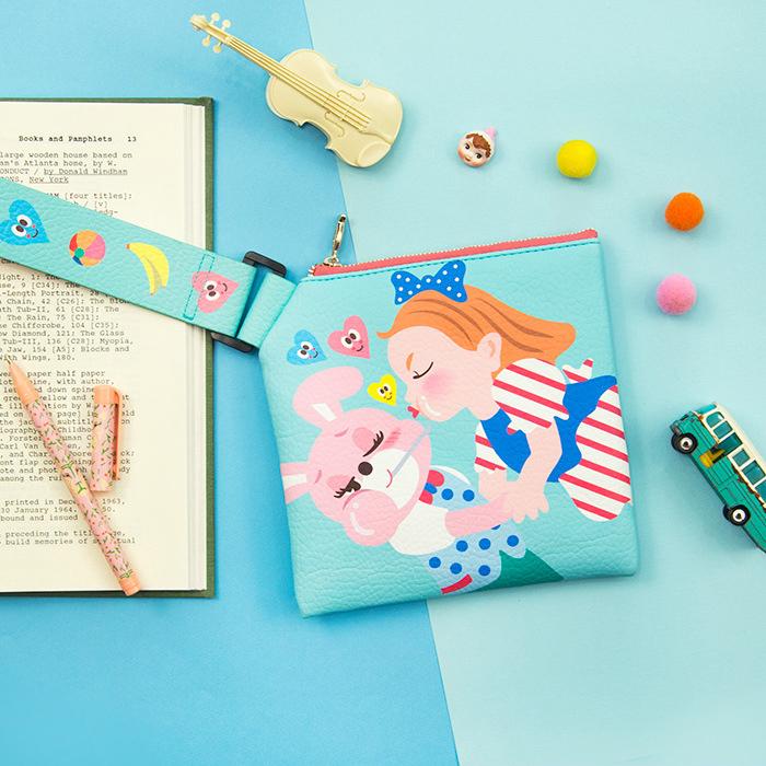 可愛卡通棒棒糖皮革手拎包 收納包 手拿包