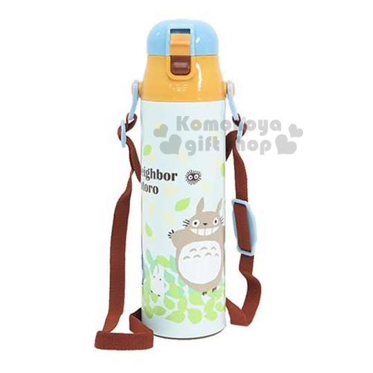 〔小禮堂〕宮崎駿 Totoro 龍貓 不鏽鋼水壺《藍綠.大.朋友.樹葉滿版.1L.晴空系列》保冷專用