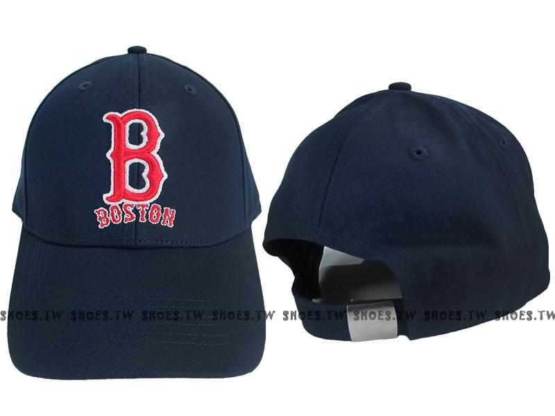 Shoestw【5032066-580】MLB 棒球帽 調整帽 老帽 紅襪隊 深藍 凸繡