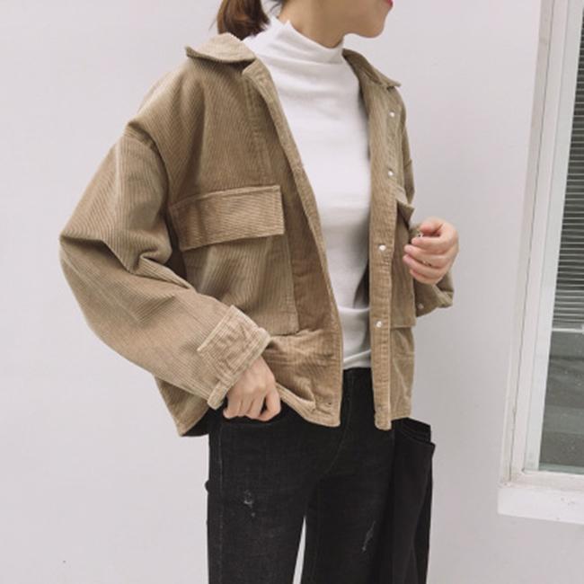 50%OFF【G019832C】秋冬燈芯絨雙口袋學院風寬鬆棒球服短夾克外套