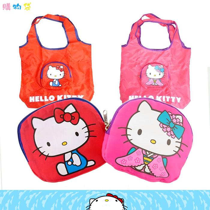 大田倉 日本進口正版 三麗鷗HELLO KITTY凱蒂貓 環保購物袋 收納袋 手提袋 肩背包 可摺疊收納式