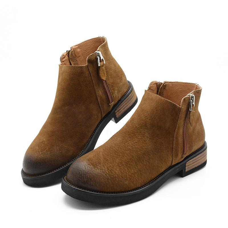 女靴新款復古擦色圓頭歐美風百搭皮靴踝靴豬皮磨砂短筒靴真皮大頭靴木跟軍靴