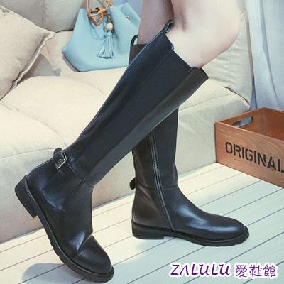 整點特賣 免運價489 ☼zalulu愛鞋館☼ KE026 歐美簡約平底低跟側拉鍊皮帶扣素面長筒長靴-偏小-36-39