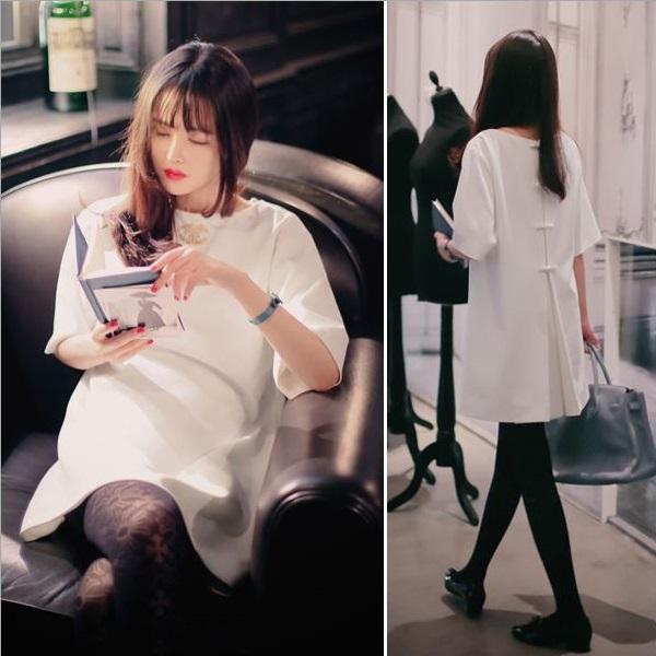 PS Mall 韓版後背蝴蝶結綁帶短袖寬鬆連身裙 洋裝 【T177】